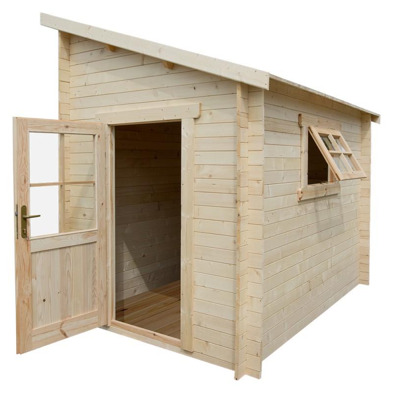 Abri à Bois Abri Adossé En Bois Massif 28mm Brut 5 92m² Gardy Shelter
