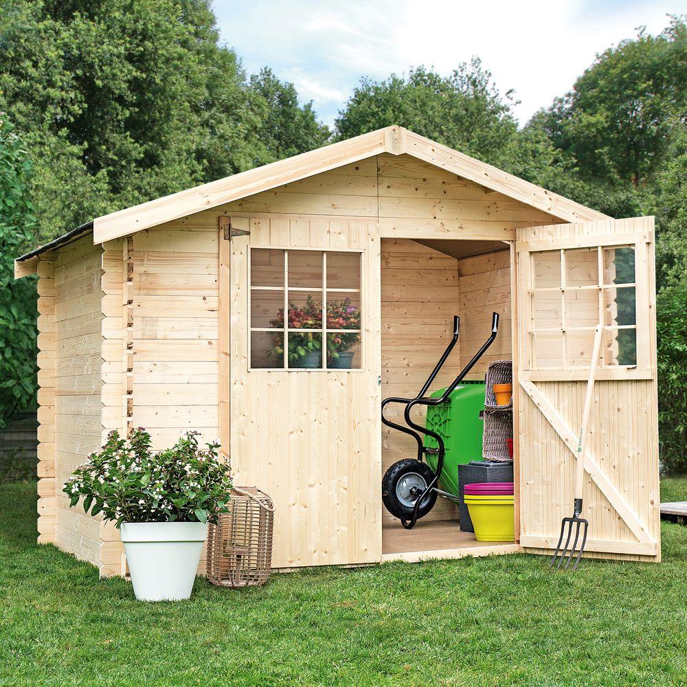 Abri de jardin en bois 6 75 m² Ep 28 mm Flodova Plantes