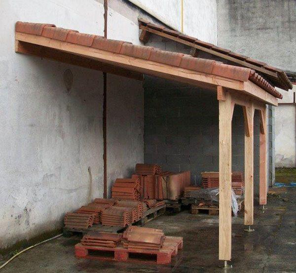 Auvent Terrasse appenti bois carport tradi