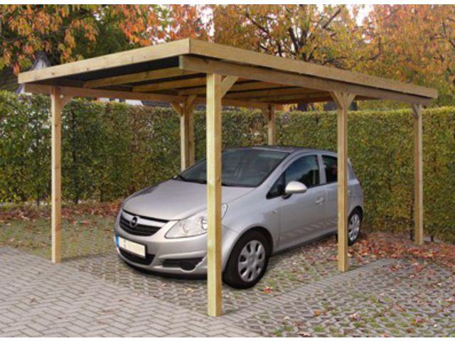 Abri voiture bois toit plat ID1804