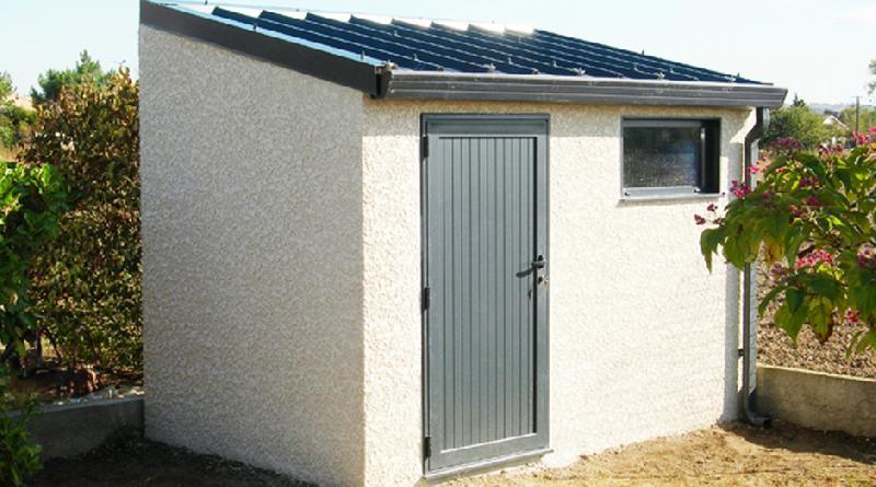 Abri de jardin en béton 1 pente couverture bac acier 1