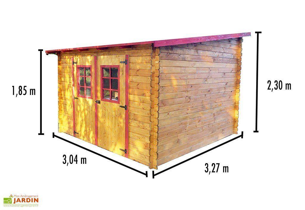 Abri de Jardin en Bois avec Toiture 1 pente 300x300cm