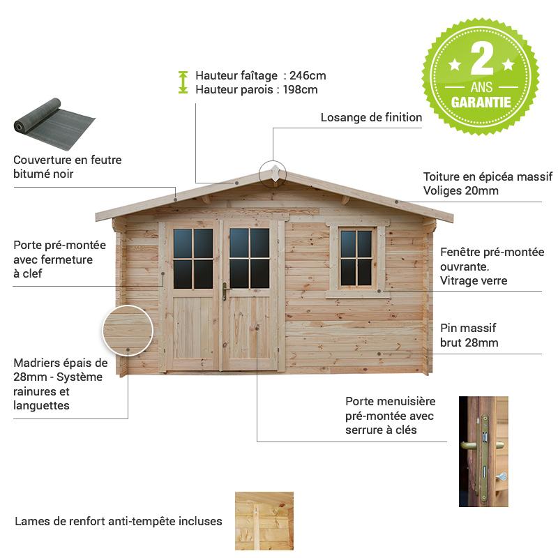 Abri de jardin en bois massif 12m² madriers 28mm Gardy
