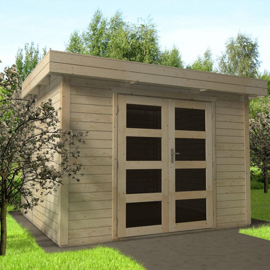 abri de jardin bois 15m2 toit plat