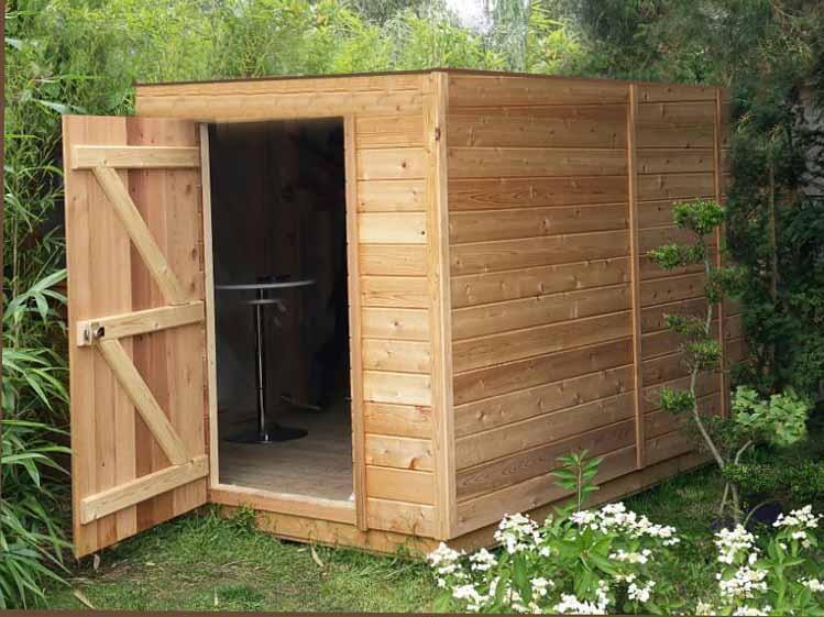 Abri de jardin en bois à toit plat sans débord de 5m2 à