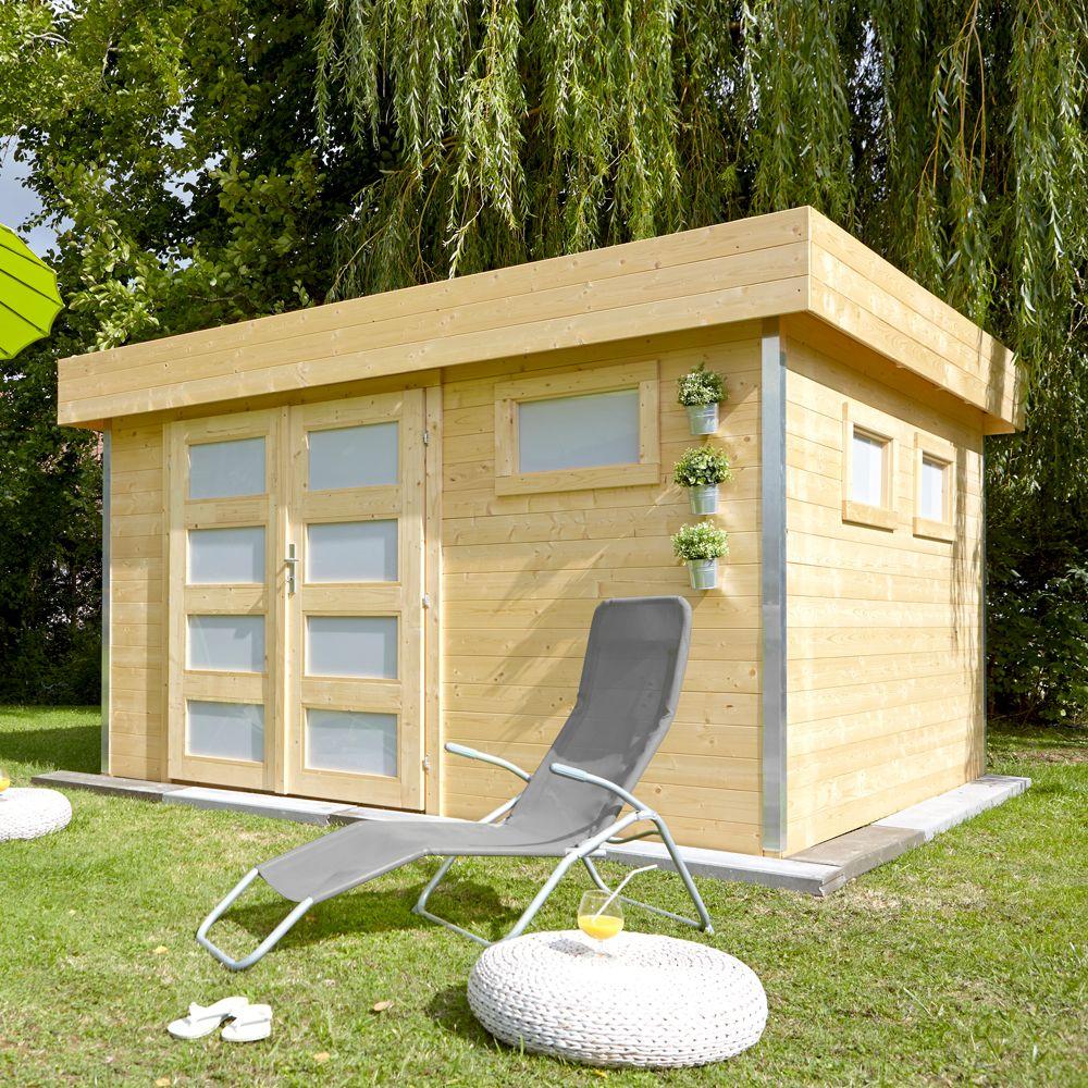 Abri de jardin bois 12 8 m² Ep 28 mm toit plat fy 120
