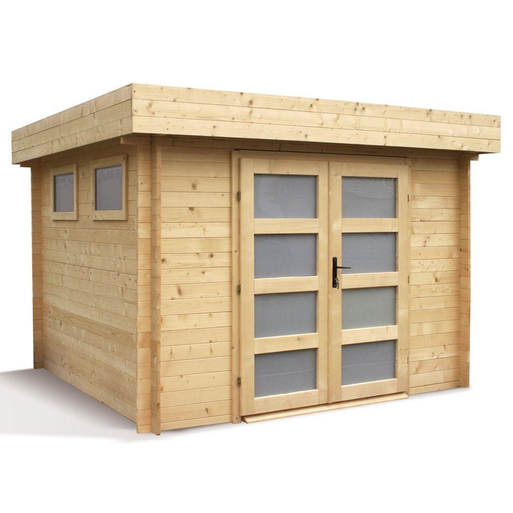 Abri de jardin bois 9 52 m² Ep 28 mm toit plat Kivik