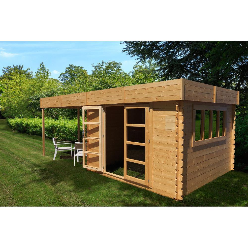 abri de jardin bois avec pergola