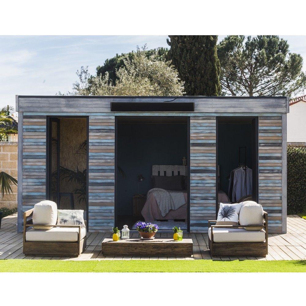 Abri de jardin bois toit plat 24 70 m² Ep 90 mm Décor