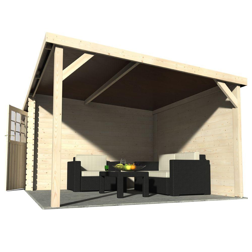Abri de jardin bois toit plat auvent 18 31 m² Ep 28 mm