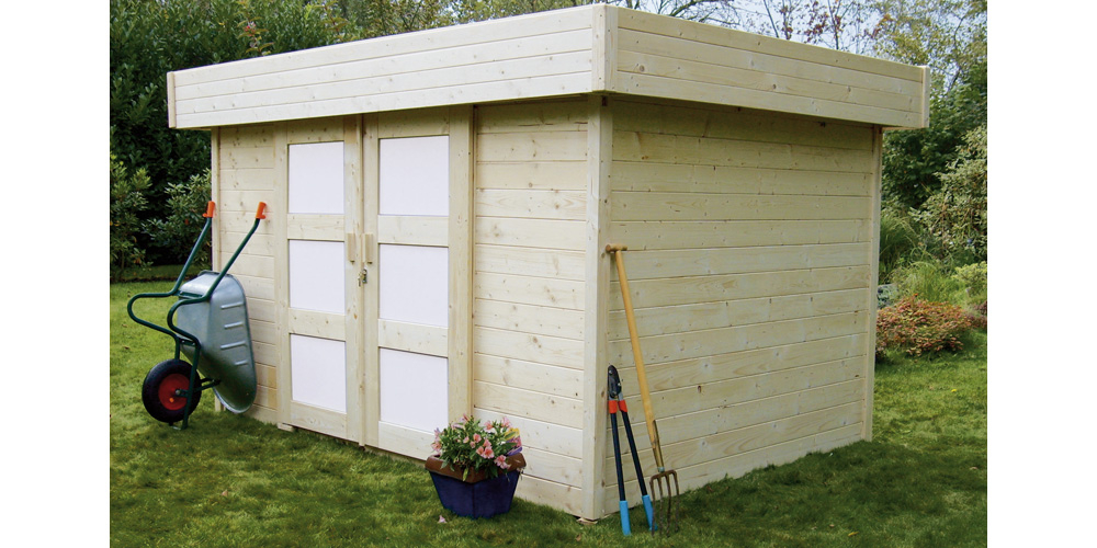 Abri de jardin en bois de 9 m2 à toit plat Madriers de
