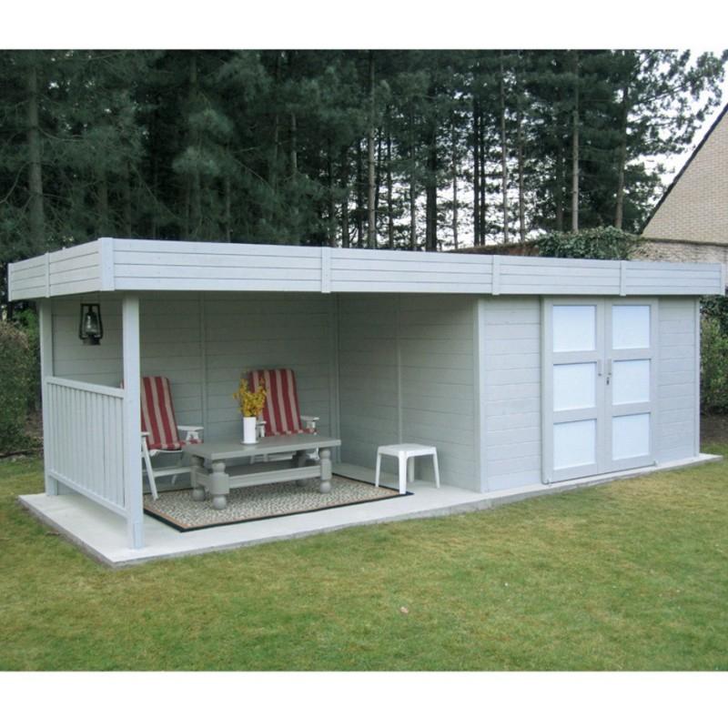 Abri de jardin en bois massif 28mm 7 65m² toit plat