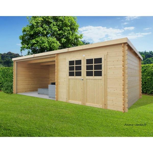 Abri de jardin en bois ROHAN toit plat emboitable 2