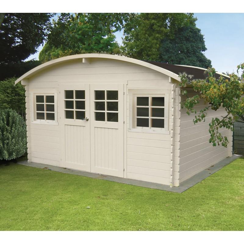 Abri de jardin bois massif 28mm 11 56m² avec toit berceau