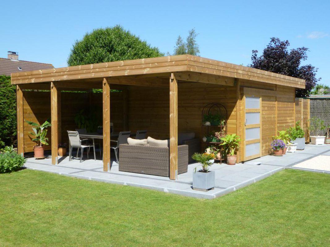 Abri De Terrasse En Bois Abri De Jardin toit Plat En Bois Avec Terrasse