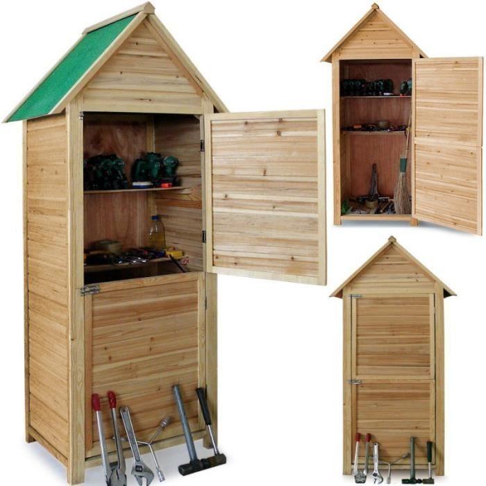 Abri de jardin en bois cabane 190x79x49cm 2 étagères 2