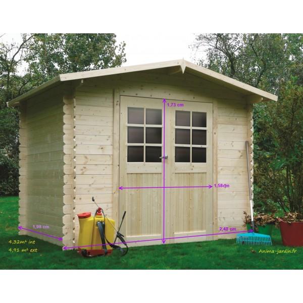 Abri de jardin en bois petit abri DRESDEN 2 portes