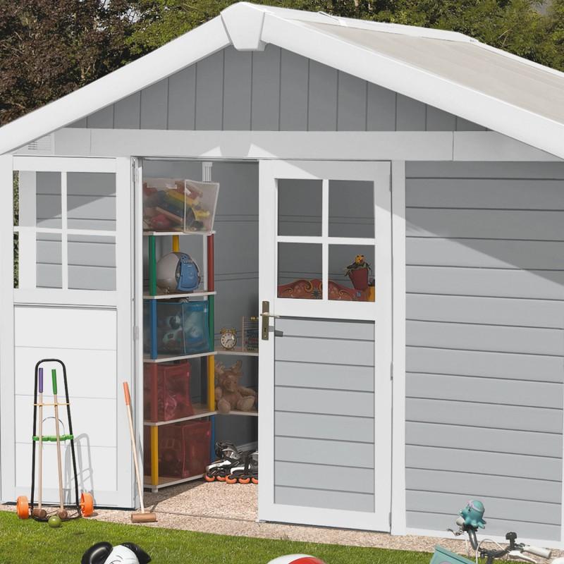 Abri Jardin Grosfillex Abri De Jardin En Pvc 7 5m² Deco Gris Clair Et Blanc
