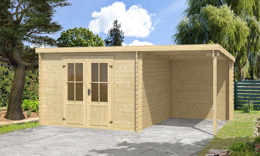 Abri de jardin avec auvent TAMPA 8 20m² madriers 28mm