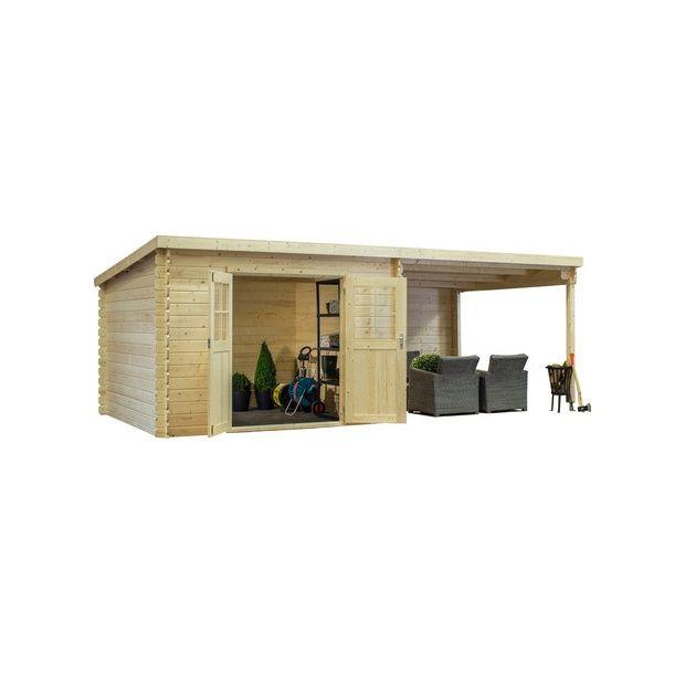 Abri de jardin monopente 8 18 m2 bois 28 mm avec auvent de