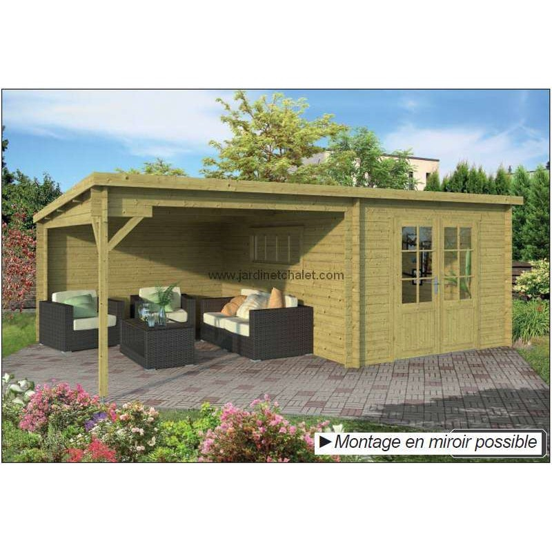Abri de jardin monopente chalet de jardin poolhouse 20m2