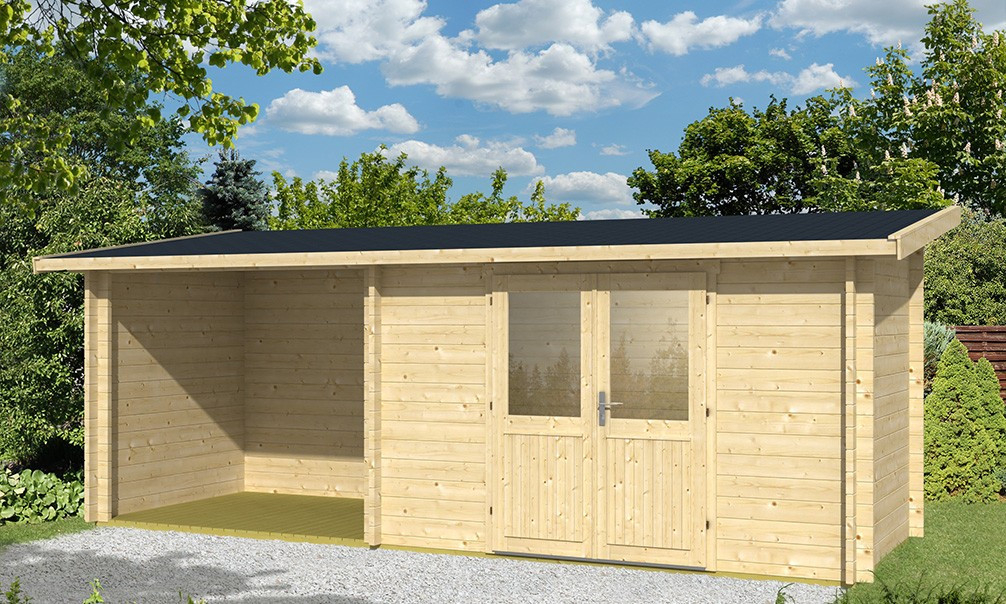 Abri de jardin toit monopente TARBES 44mm 6 3m²