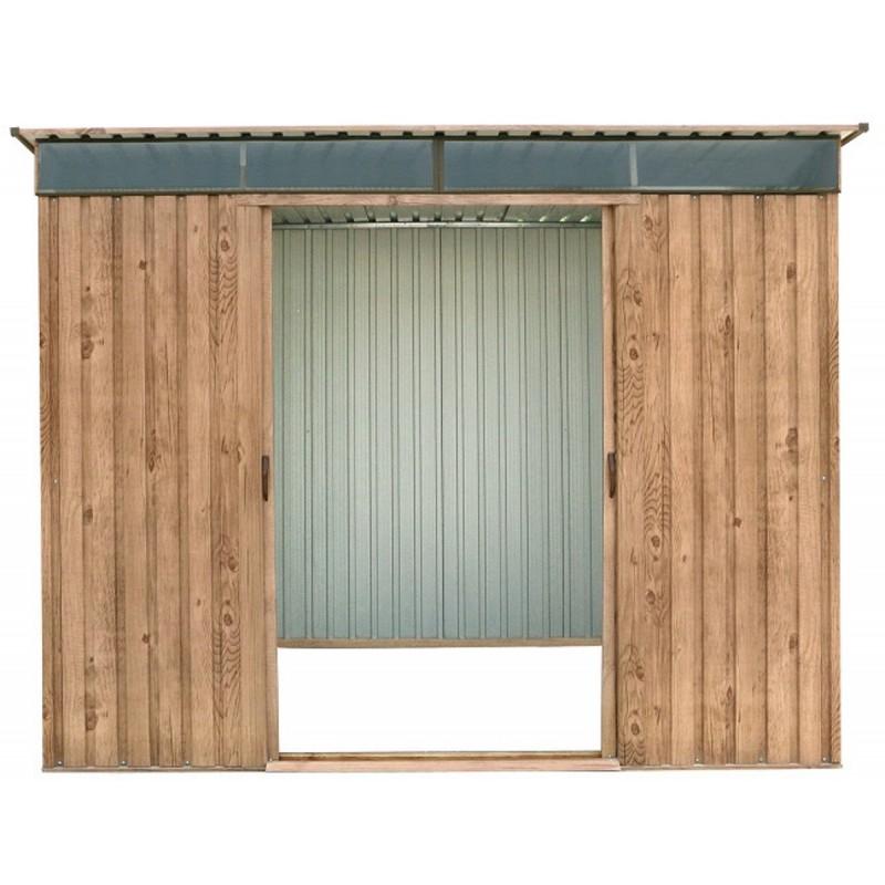Abri en métal imitation bois Skylight à toit plat 4 84m²
