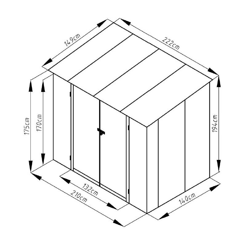 Abri en métal monopente 3 17m² imitation bois vieilli
