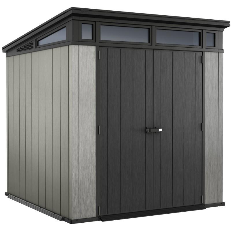 Abri toit plat en résine brossée Brossium 4 7m² Plancher