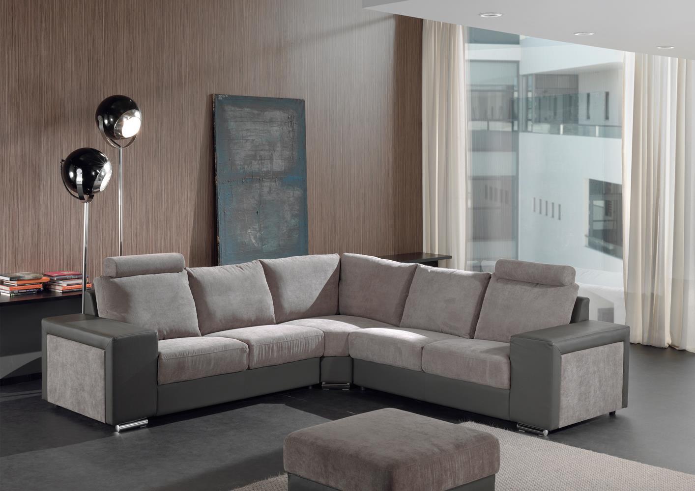 Acheter votre canapé d angle moderne bicolor taupe et