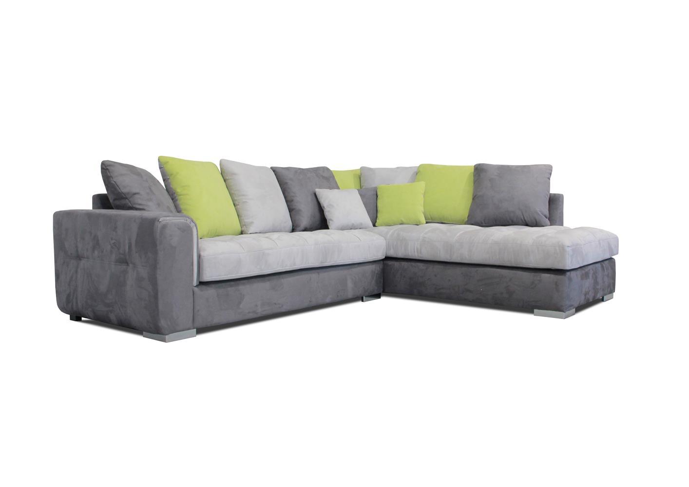 Acheter votre canapé d angle moderne coussins jetés gris