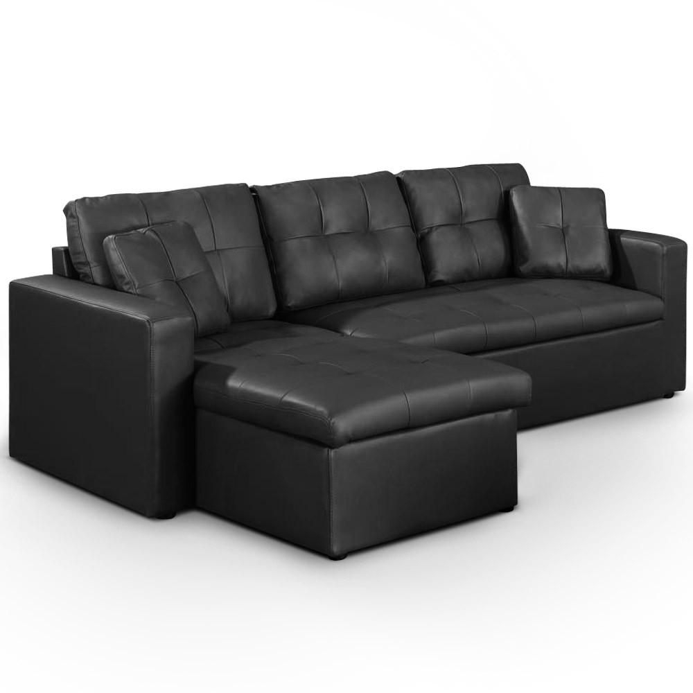 Canapé d angle convertible Cuero Noir