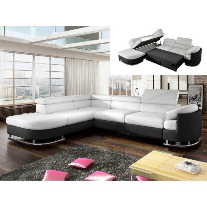 Canapé d angle convertible en simili MYSEN Blanc et noir