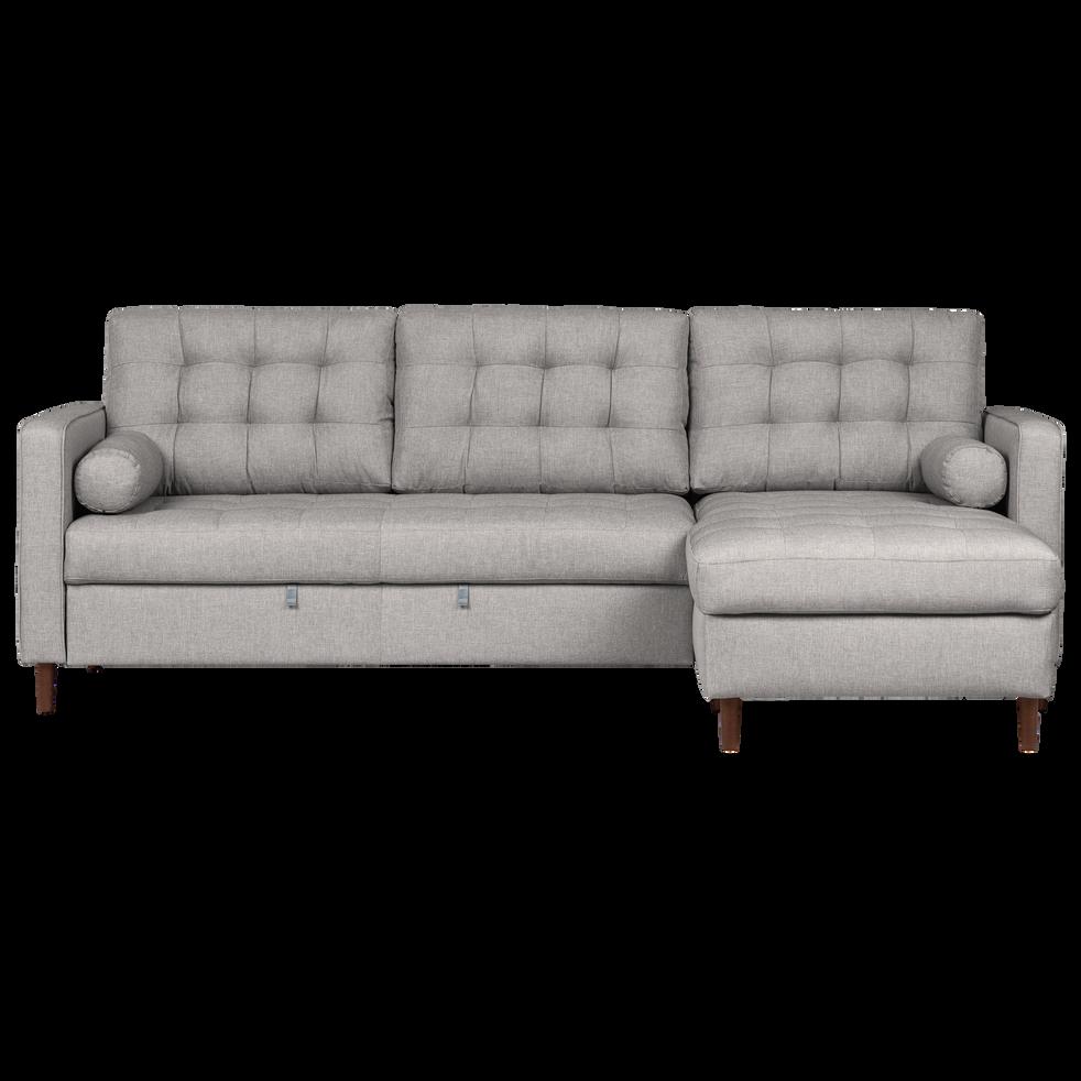 Canapé d angle convertible réversible en tissu gris borie
