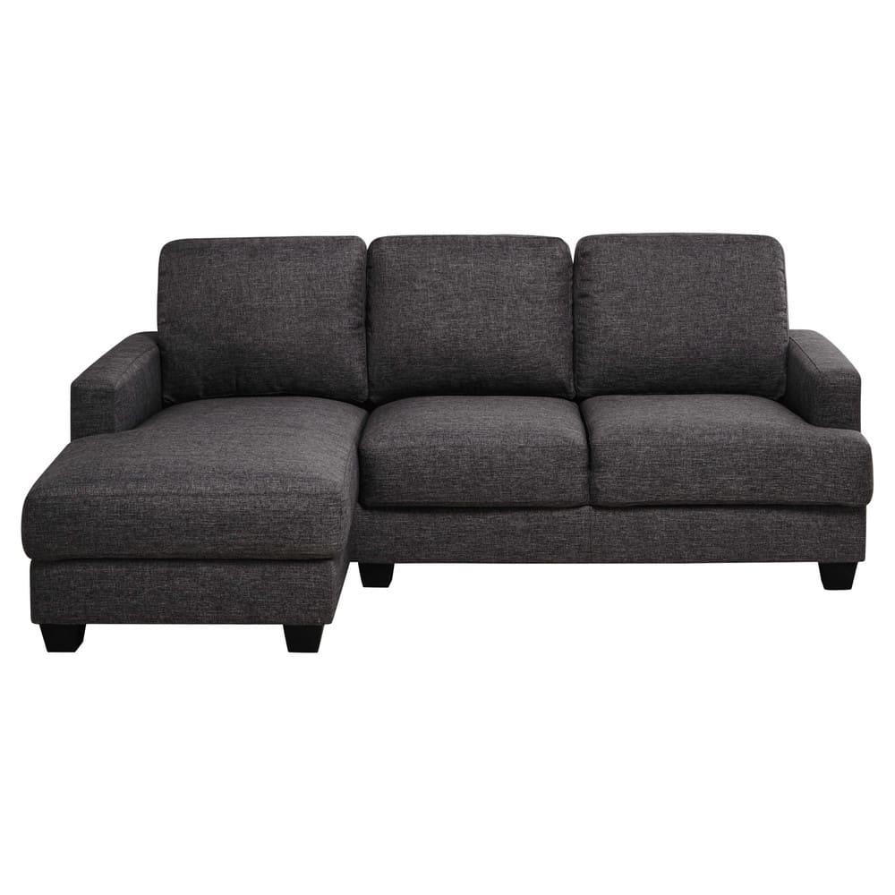 Canapé d angle gauche 3 4 places en tissu gris chiné
