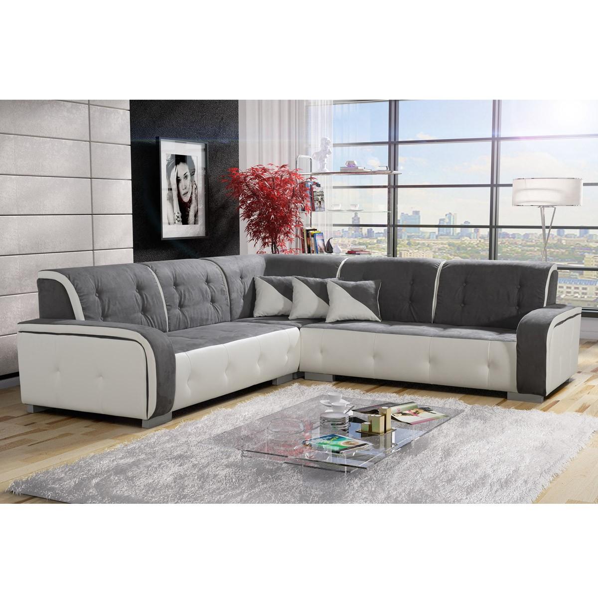Canapé d angle réversible tissu gris et PVC blanc Jamaïca