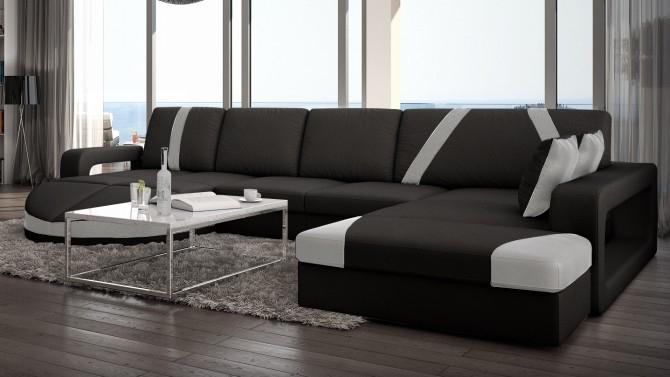 Canapé design panoramique d angle en cuir Utena GdeGdesign