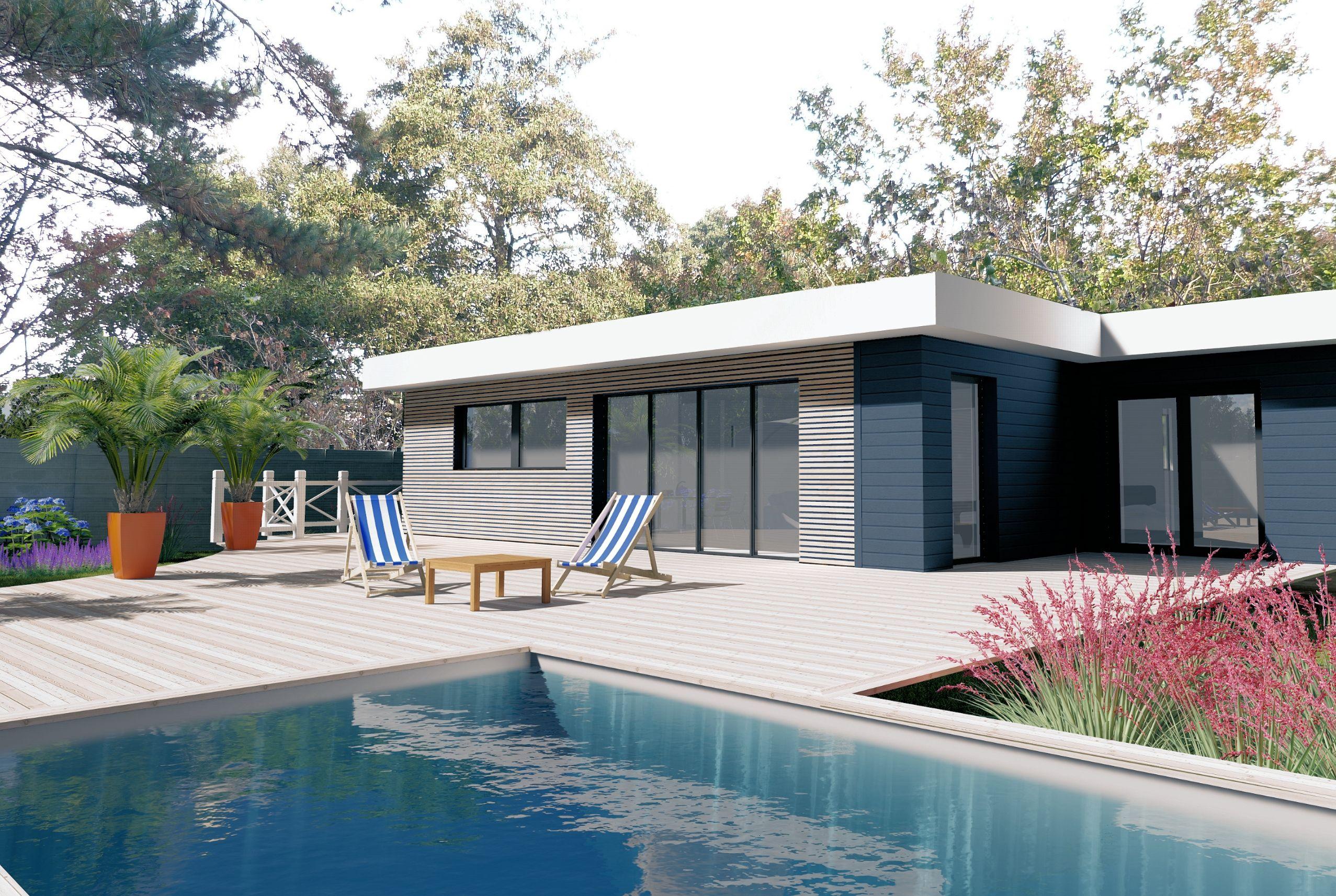 Maison en ossature bois bardage claire voie terrasse et