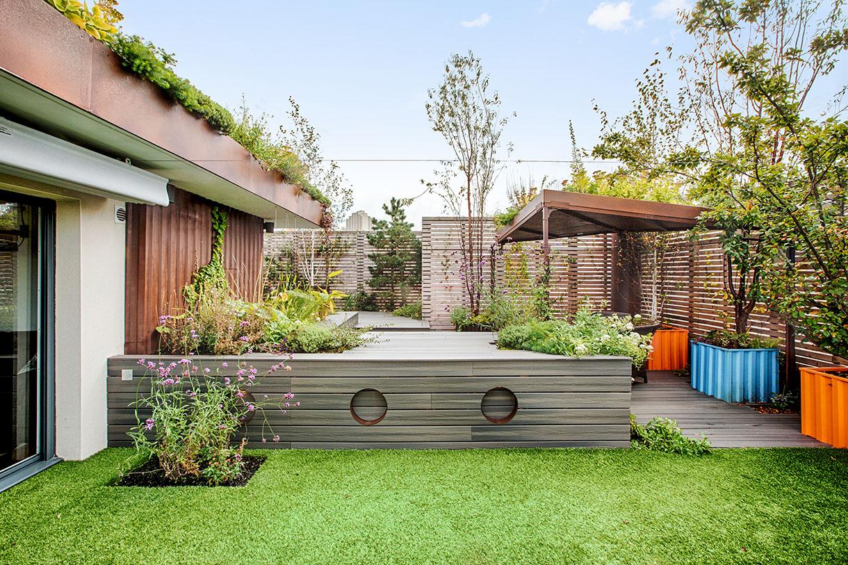 Jardin terrasse style maritime idée aménagement