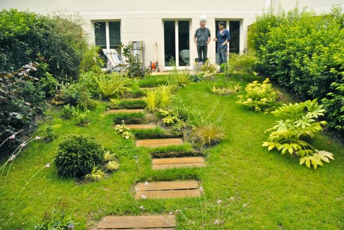 Terrasse jardin pente