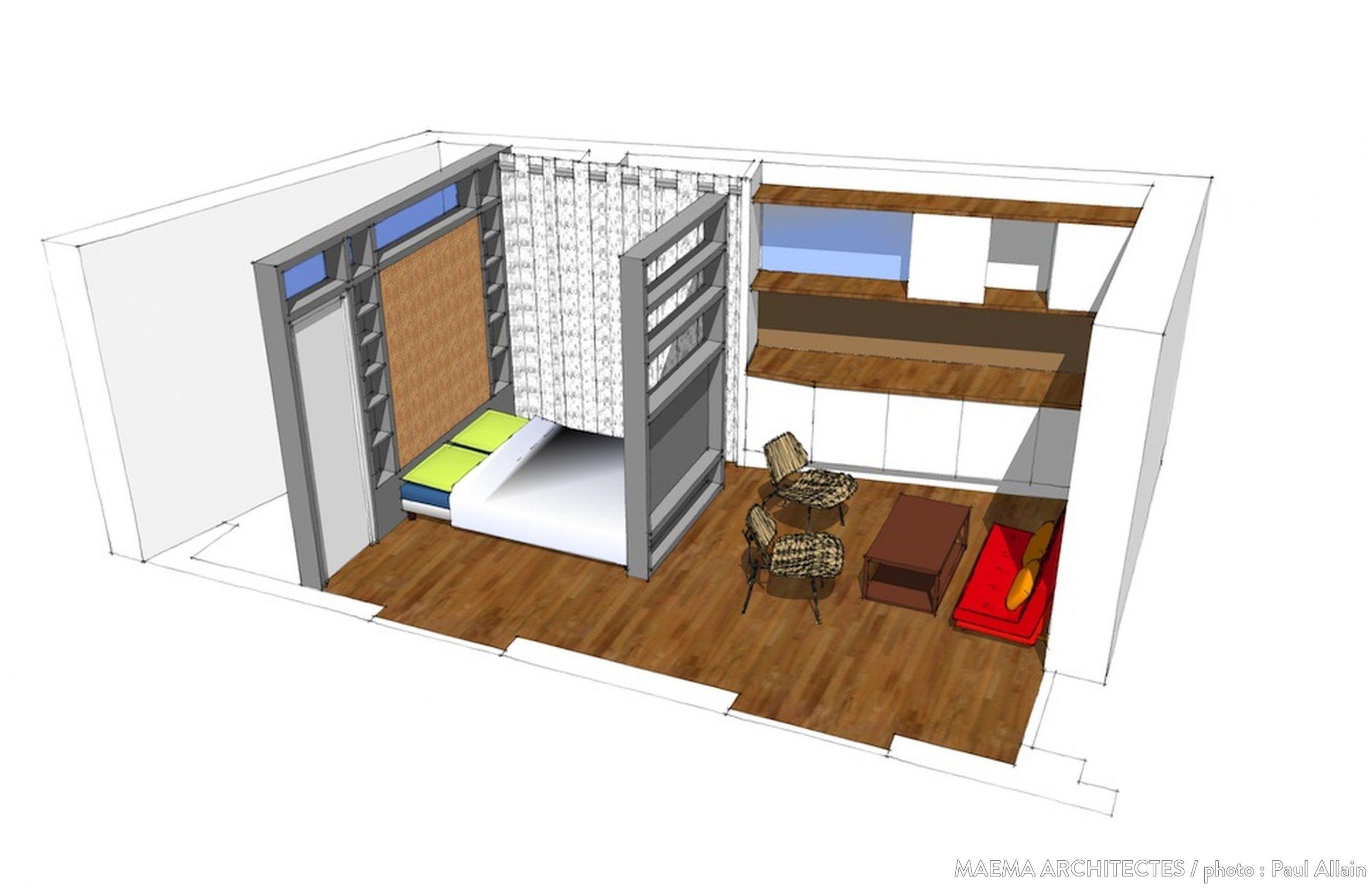 Maquette d aménagement d un studio Plans