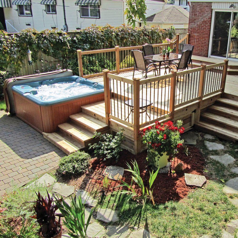 aménagement avec piscine hors terre et spa contemporain