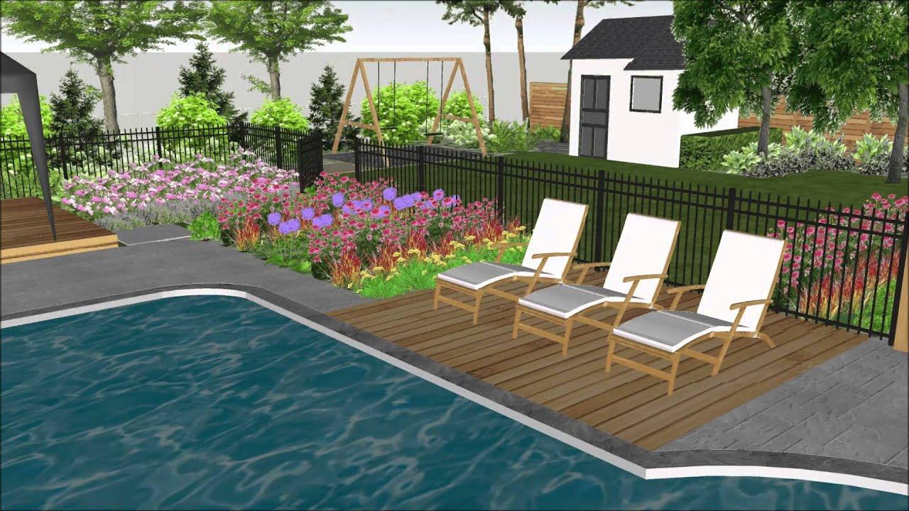 Aménagement paysager d un cour arrière avec piscine