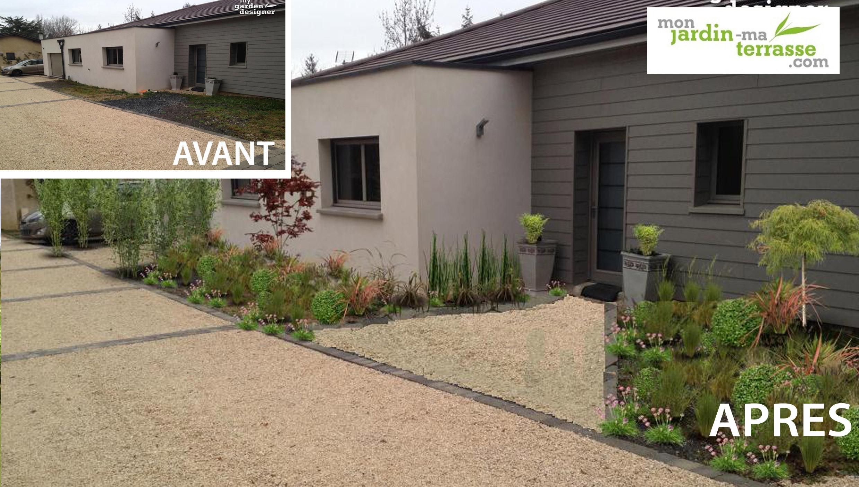 Aménagement du jardin de l'entrée d'une maison