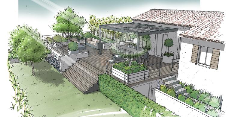 Jardin sur terrasse semi enterrée Lamanon 13