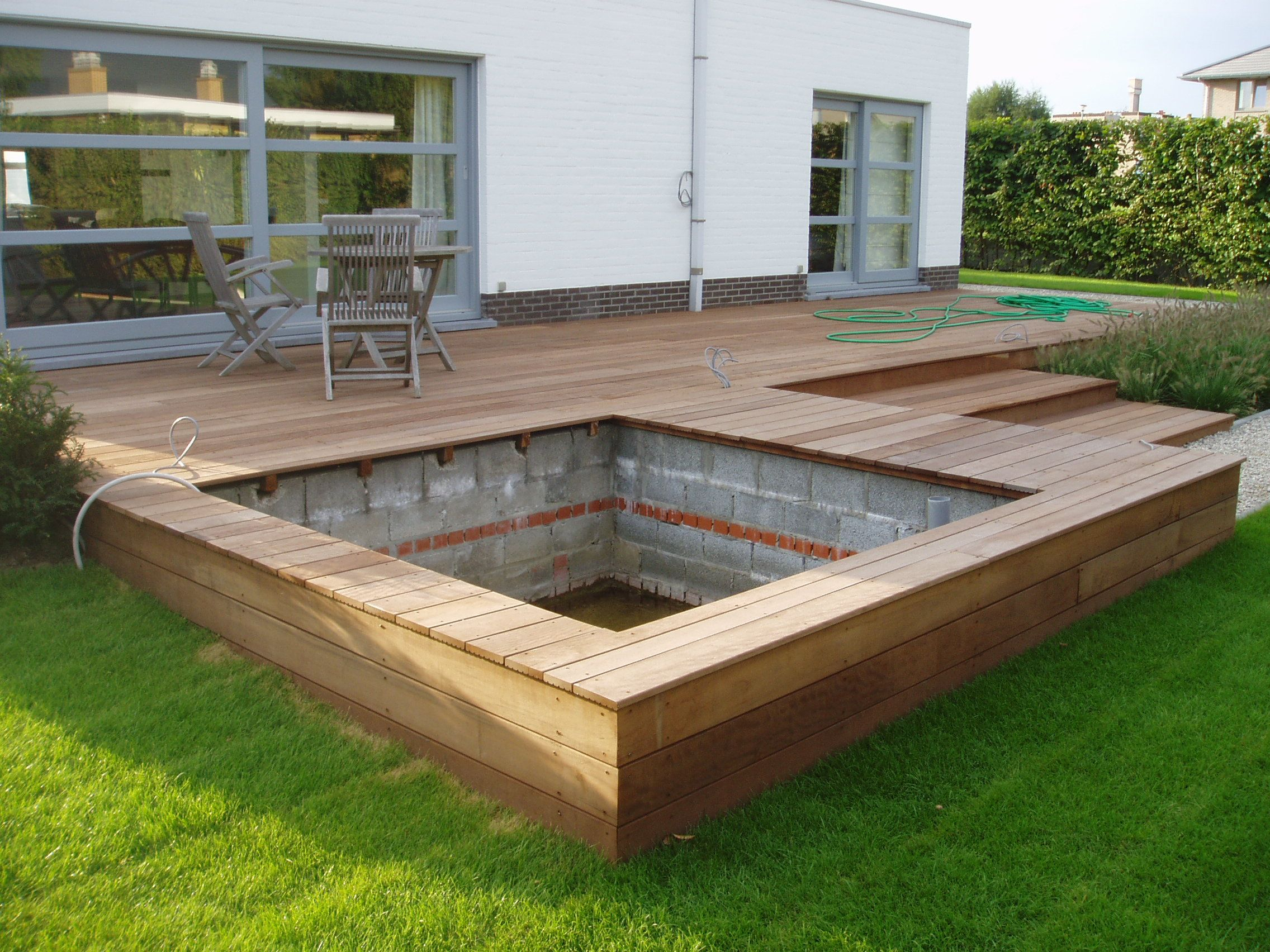 Piscine Tubulaire Terrasse Bois amenagement piscine bois bassin intégré extérieur jardin en
