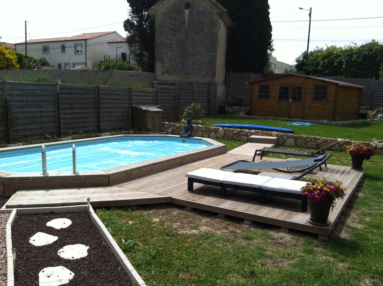 Piscine Tubulaire Terrasse Bois amenagement piscine bois piscine - idees conception jardin