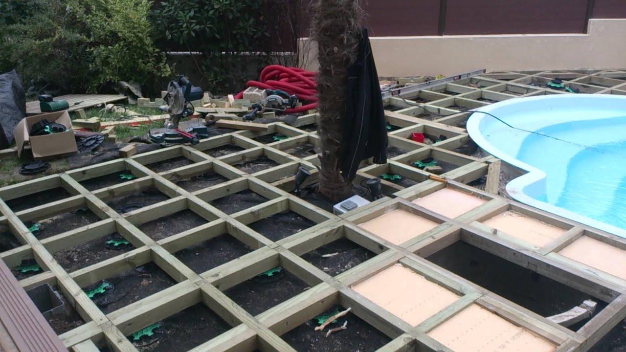 Plage piscine terrasse bois Essonne