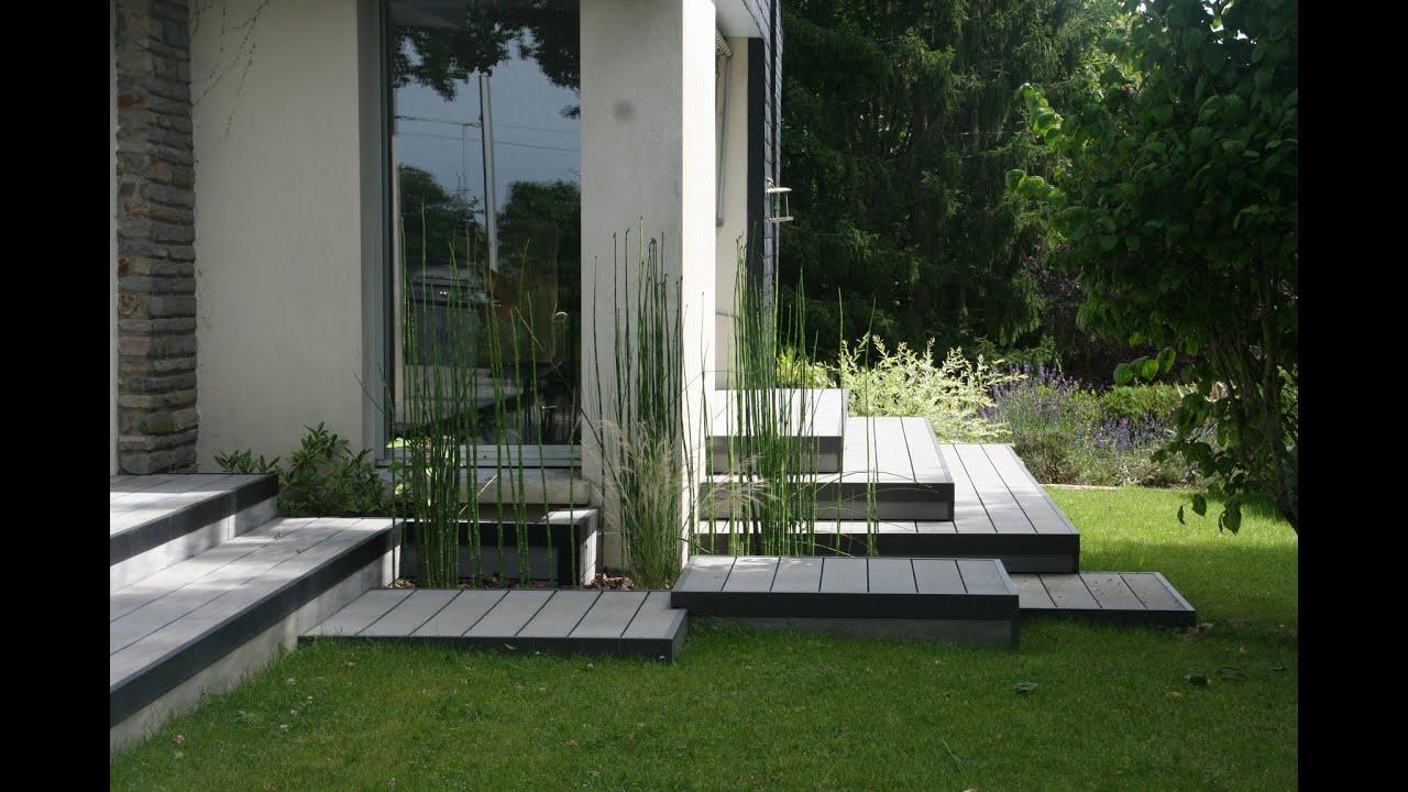 Aménagement d une terrasse en bois posite gris chamarré