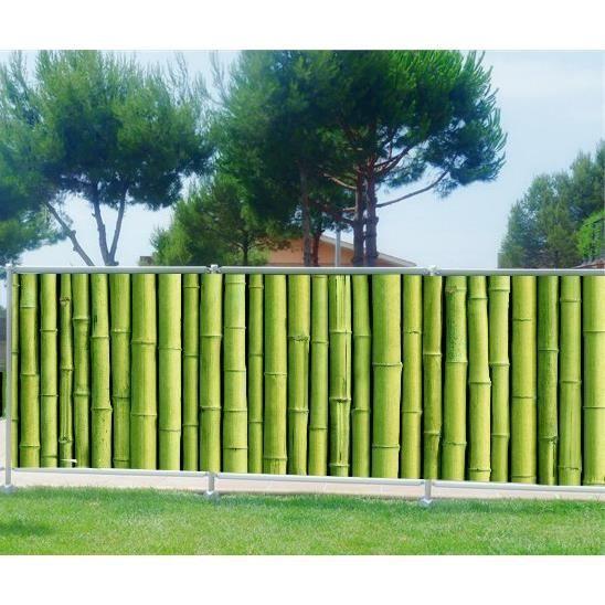 Brise vue imprimé jardin terrasse balcon déco Bambous